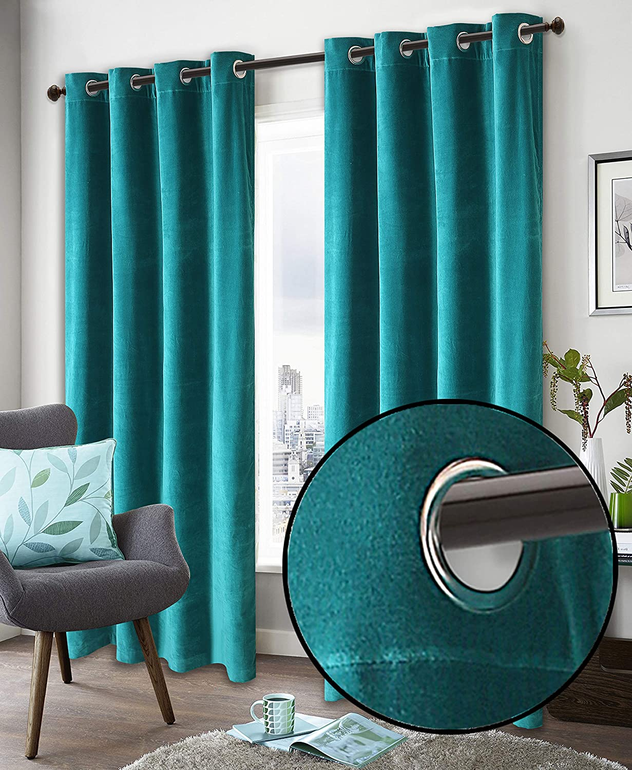Super Soft Luxury Velvet Window Curtain, 50 Inch x 72 Inch, Velvet Cotton Grommet Window Curtain Panel, Set of 2, Teal