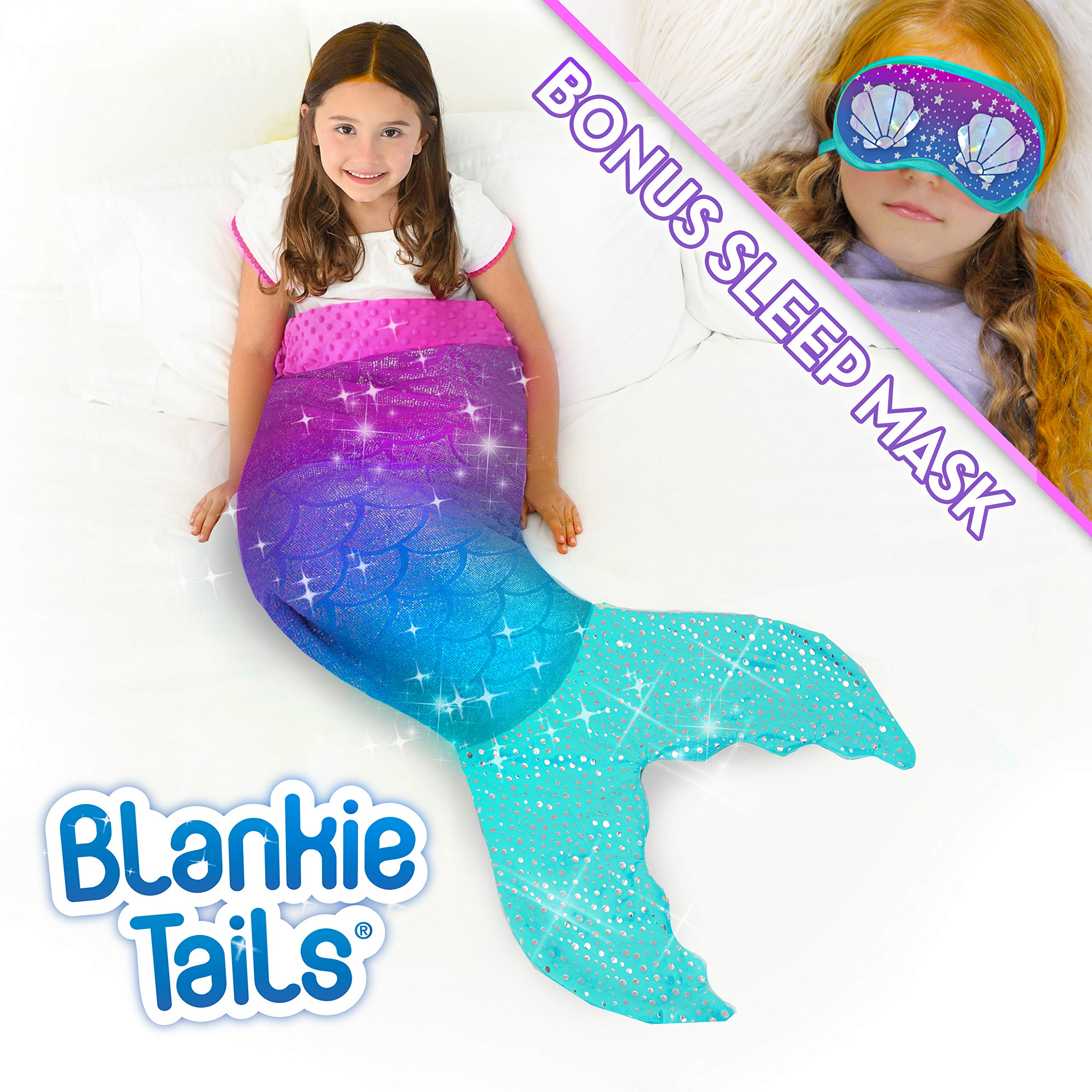 Blankie Tails Mermaid Tail Blanket with Bonus Sleep Mask Gift Set - Glitter Sparkle Purple/Aqua Ombre Mermaid Blanket-Double-Sided Minky Fleece Kids Size Mermaid Tail Wearable Blanket by Blankie Tails