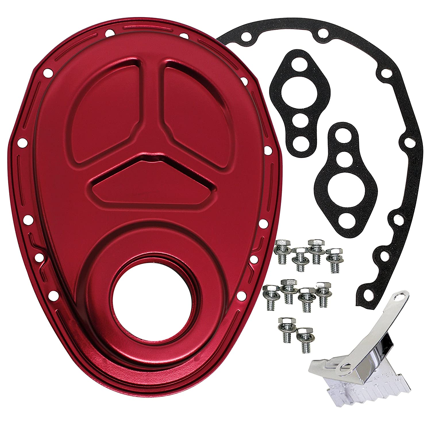 1955-95 CHEVY SMALL BLOCK 283-305-327-350-400 ALUMINUM TIMING CHAIN COVER SET (ROLLER CAM) - RED CFR Performance