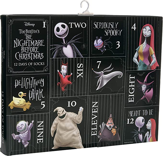 Disney Nightmare Before Christmas Men's 12 Days Advent Box, Assorted Dark, Fits Sock Size 10-13 Fits Shoe Size 6.5-12.5 (Men)
