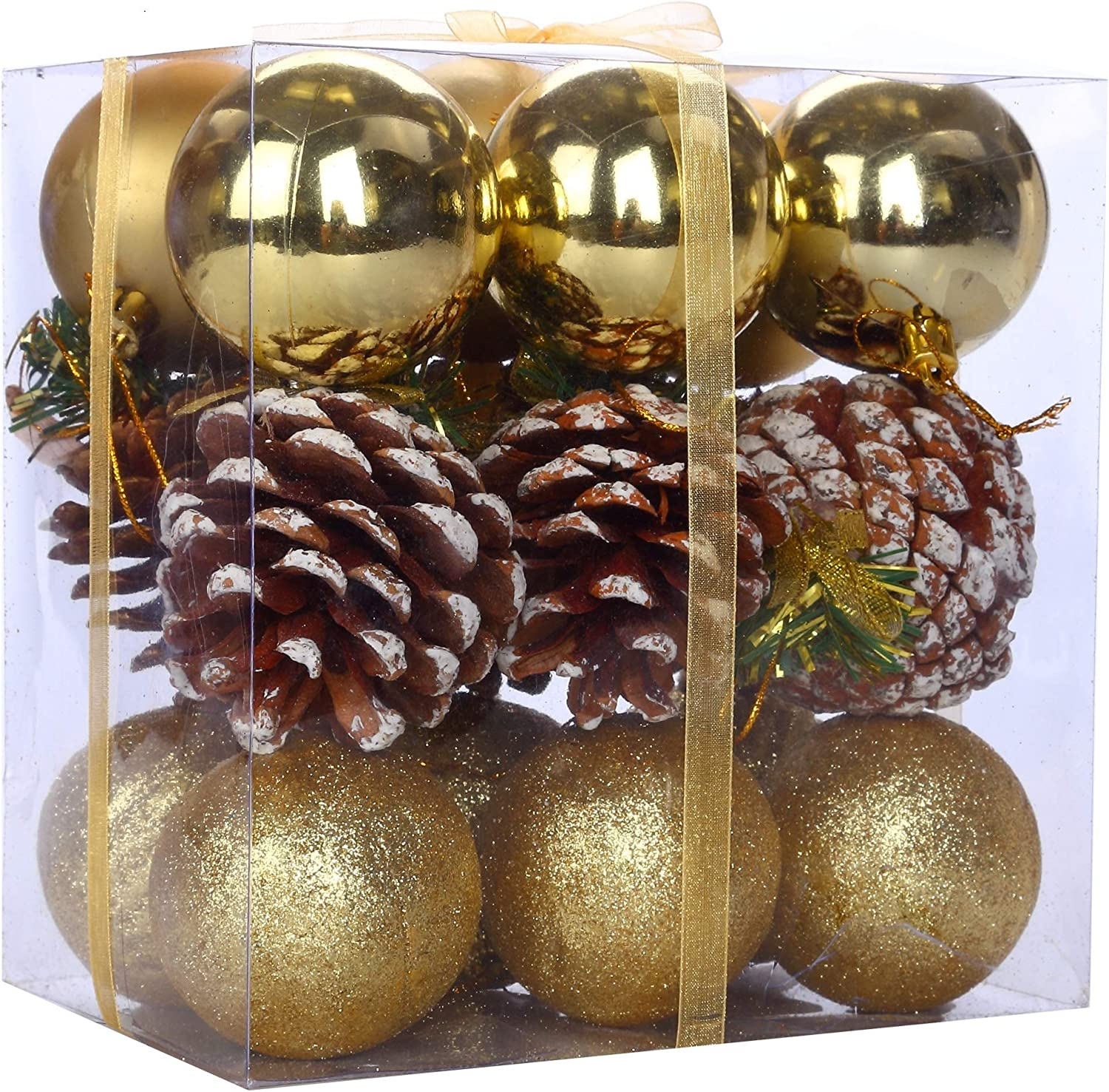 Assorted Christmas Balls Ornaments Decoration Santa's Factory Classic Hanging Xmas Balls Pendants Baubles Set for Christmas Tree Decorations Collections(18ct 2.36