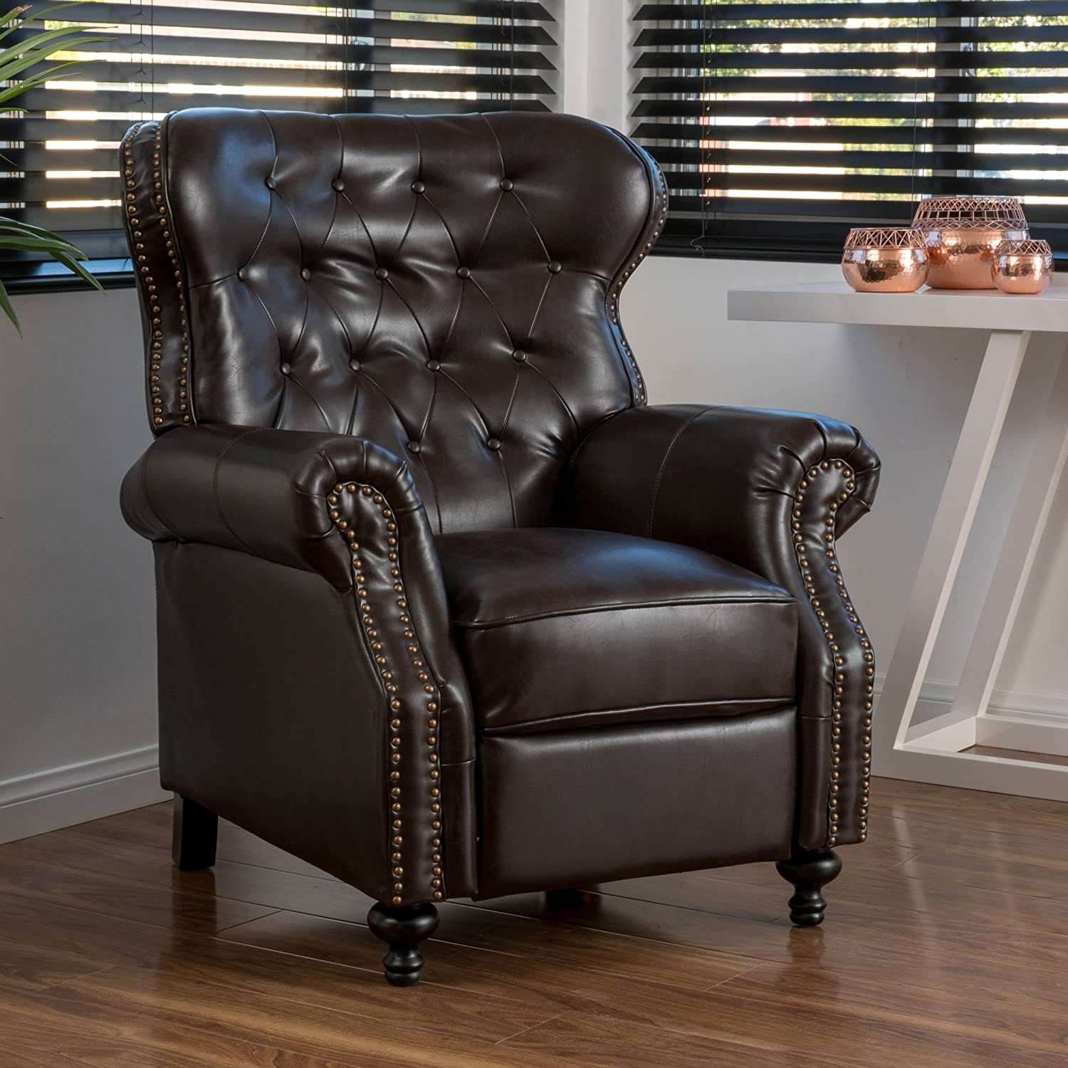 Amazon Waldo Brown Leather Recliner Club Chair Kitchen & Dining