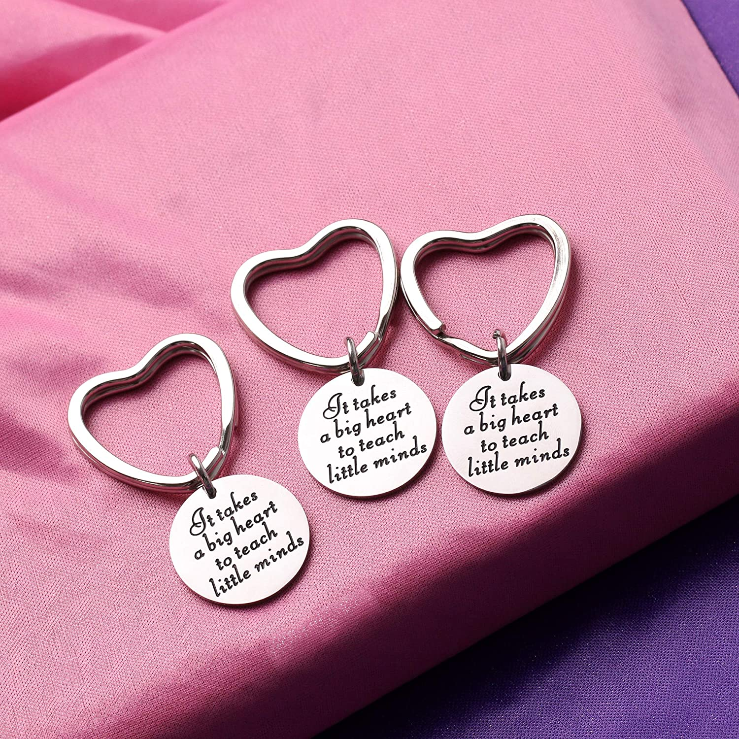 AGR8T Key Rings Teacher Appreciation Gifts Teachers Day It Takes a Big Heart to Teach Little Minds Silver