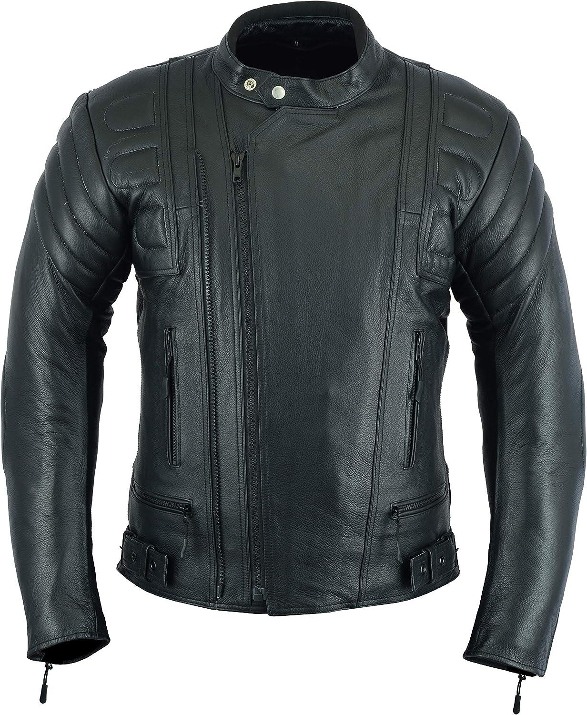 Chaqueta de cuero de plena flor con protecciones, diseño de motocicleta, en color negro, para hombre, modelo LJ-2020MR