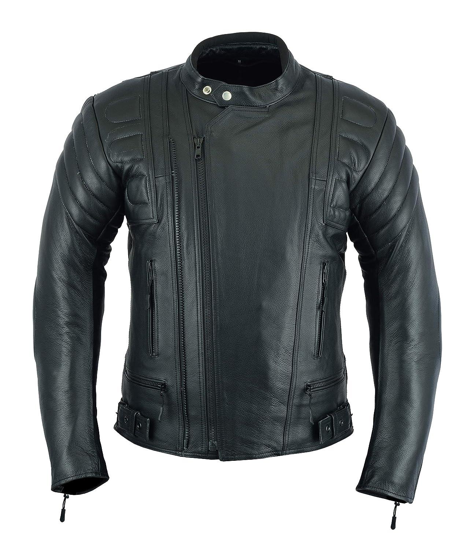 Giacca corazzata da uomo - per motocicletta, sportiva - altamente protettiva - in pelle (pieno fiore), colore nero - LJ-2020MR LeatherTeknik