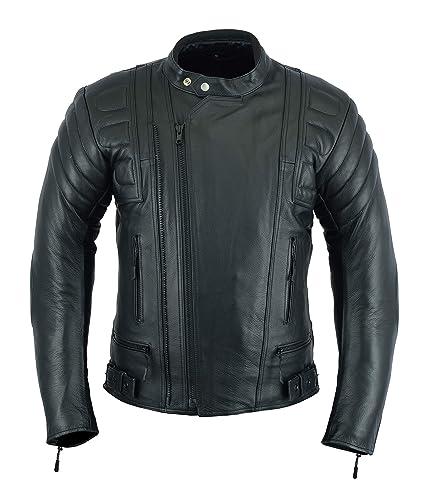 Chaqueta de cuero de plena flor con protecciones, diseño de motocicleta, en color negro, para hombre, modelo LJ 2020MR