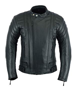 Chaqueta de cuero de plena flor con protecciones, diseño de motocicleta, en color negro, para hombre, modelo LJ-2020MR: Amazon.es: Coche y moto