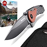 BearCraft Folding Knife inclusiveFREE eBook | Outdoor Survival pocket knife with wood insert | Small one-hand knife made of stainless steel | Ideal for recreational work hiking camping