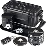 """Kozo Smell Proof Stash Box Combo Kit with Aluminium 2.5"""" Herb Grinder, Rolling Tray, Odor Proof Container Jar and A…"""