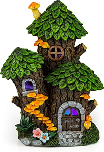 VP Home Mystic Gnome Fairy House with Color Changing LED Solar Outdoor Decor Garden Light