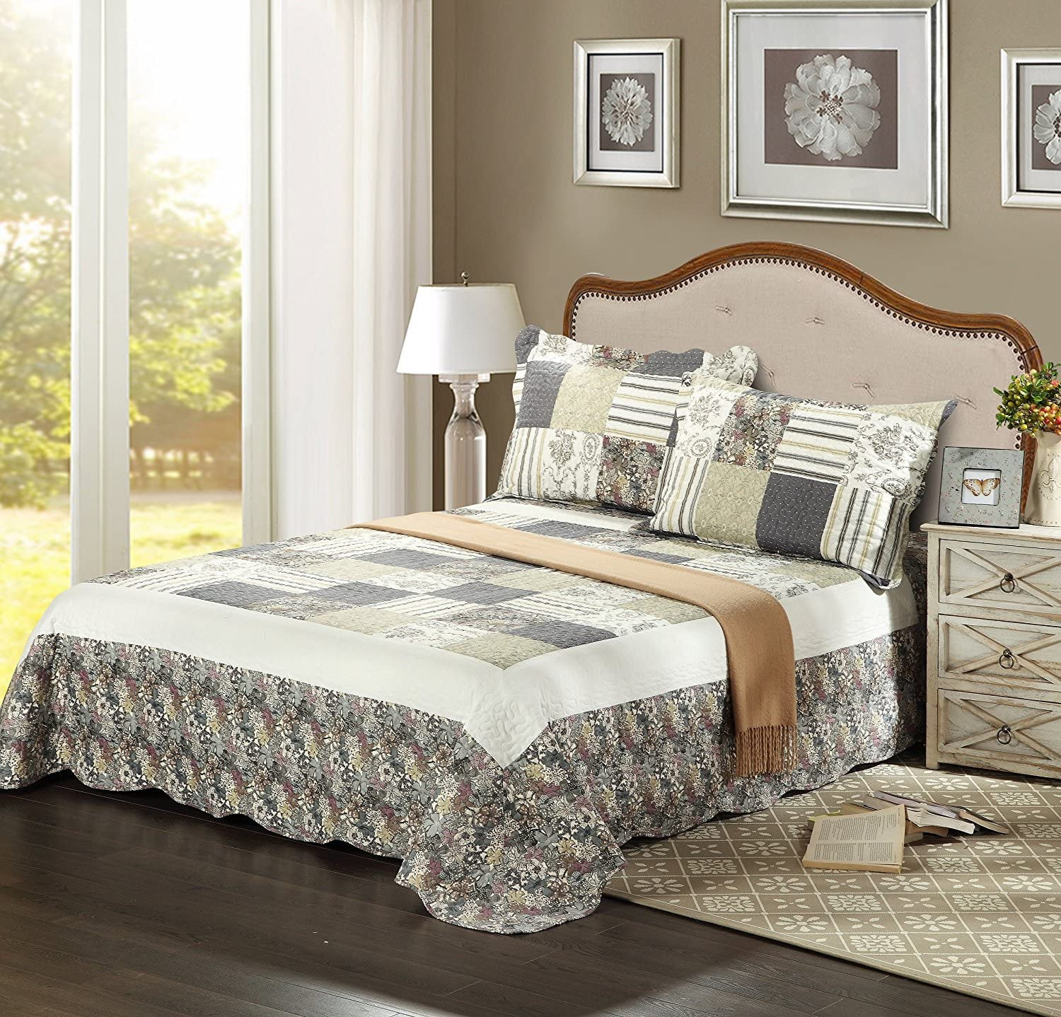 Tache Home Fashion SD2876-Twin Tache 2 Piece Checkered Morning Flower Galore Reversible Bedspread Quilt Set, Twin