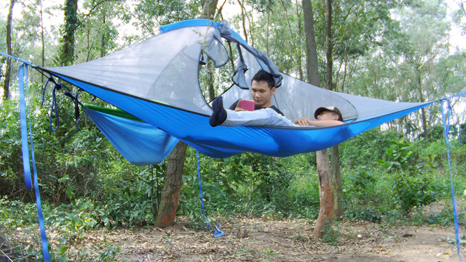 Amazon.com Skysurf Triangle Hanging Tree Tent Lightweight Backpacking 2 Person Tree Tent Triangle Double Hammock (blue) Sports u0026 Outdoors & Amazon.com: Skysurf Triangle Hanging Tree Tent Lightweight ...