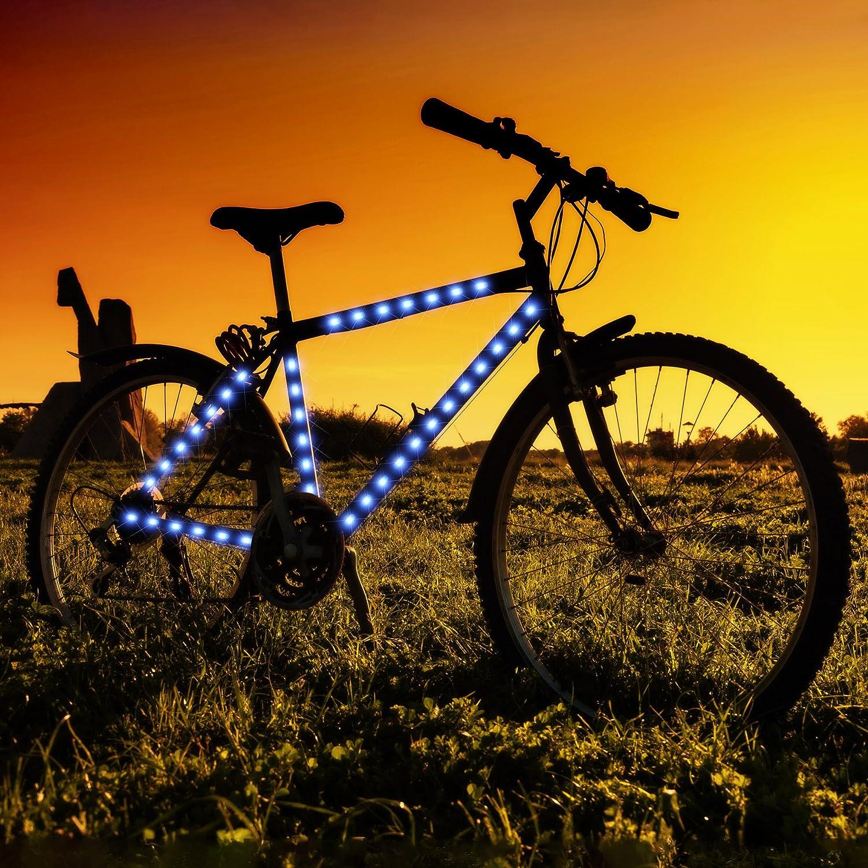 Amazon.com : Blue LED Strip Tape Lights for Bike Frame : Sports ...