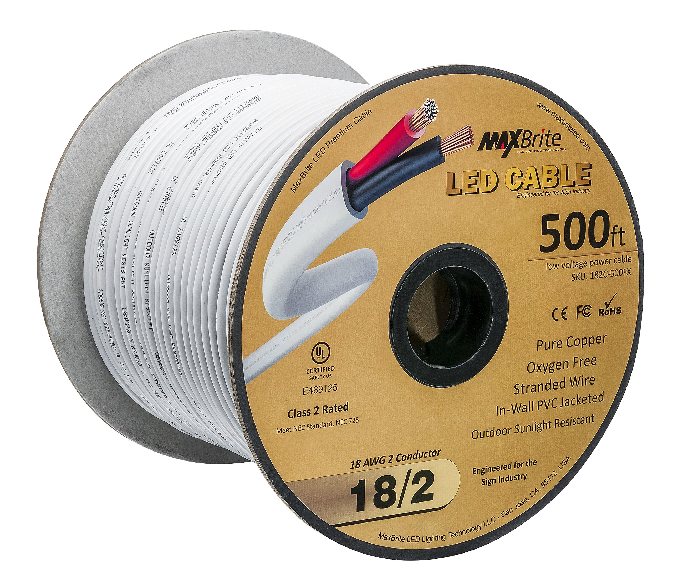 18AWG 500 Feet Low Voltage LED Cable, 2 Conductor, Outdoor Rated, Jacketed In-Wall Speaker Wire UL/cUL Class 2, Sunlight Resistant