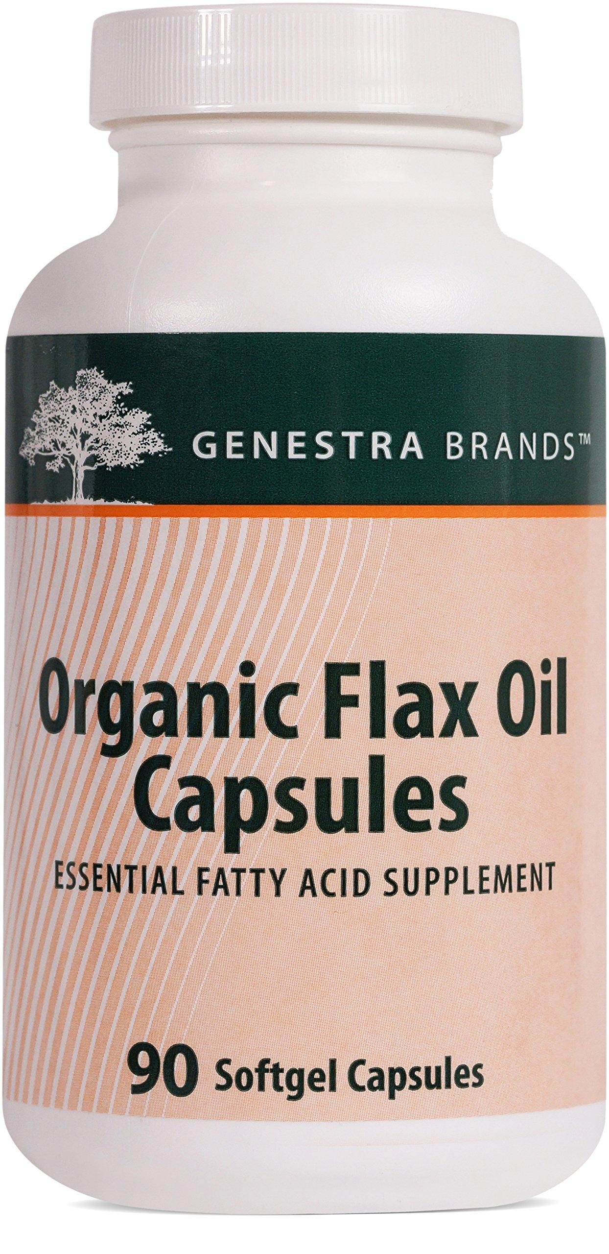 Genestra Brands - Organic Flax Oil Capsules - Essential Fatty Acid Supplement - 90 Softgel Capsules