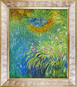 """La Pastiche Irises 3, 1914-1917 with Gold Pearl Framed Oil Painting, 30"""" x 26"""", Multi-Color"""