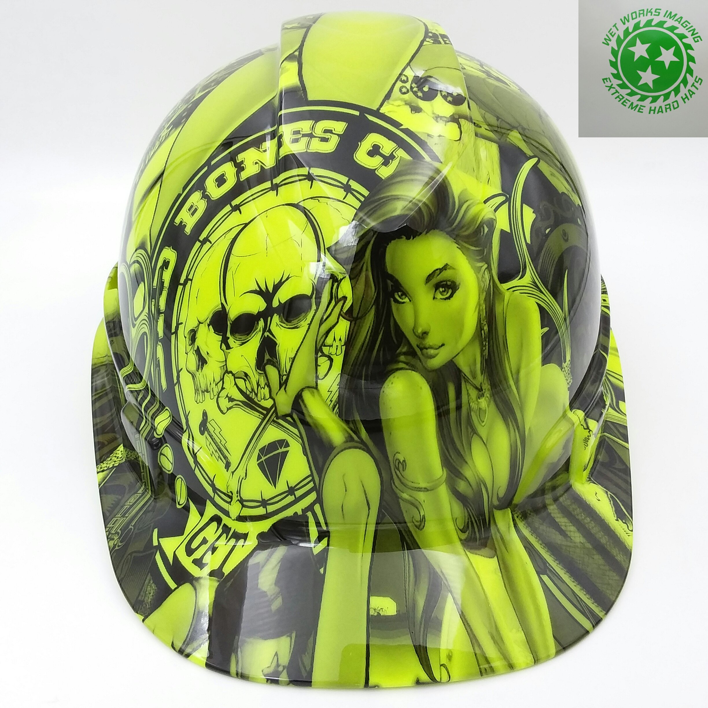 Wet Works Imaging Customized Pyramex Cap Style Green Bad Bones Club Hard Hat With Ratcheting Suspension by Wet Works Imaging
