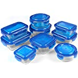 Glass Food Storage Container Set - Blue - 18 Pieces set (9 containers and 9 lids) - Reusable - Multipurpose Use for Home Kitchen or Restaurant - BPA free - by Utopia Kitchen