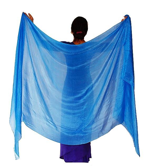 "42f125b6b Nahari Silks Womens 100% Silk Dance Scarves Shawls Wraps Solid Colors  Turquoise 82"""
