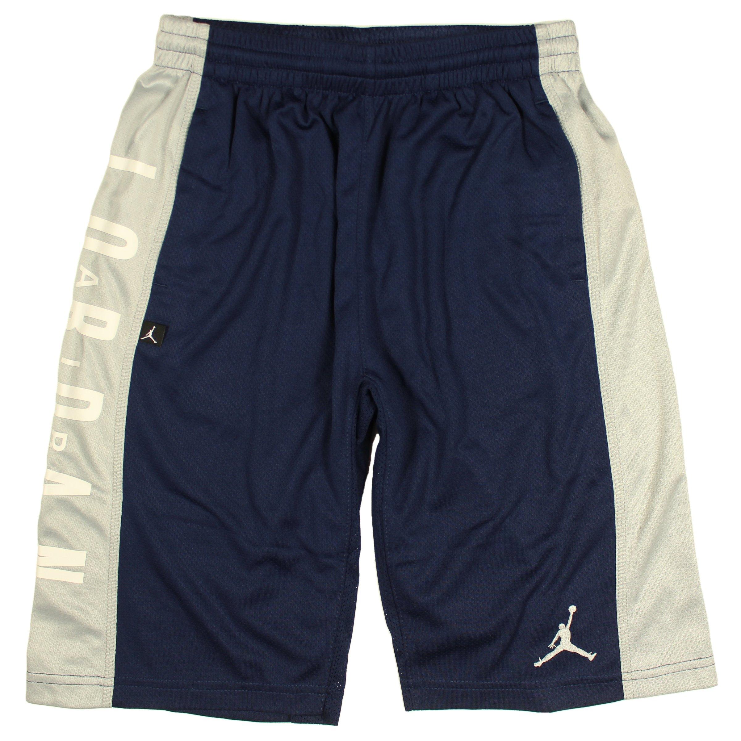 Jordan Nike Air Boy's Highlight Dri-Fit Athletic Mesh Basketball Shorts (Small (8-10 yrs.), Midnight Navy)