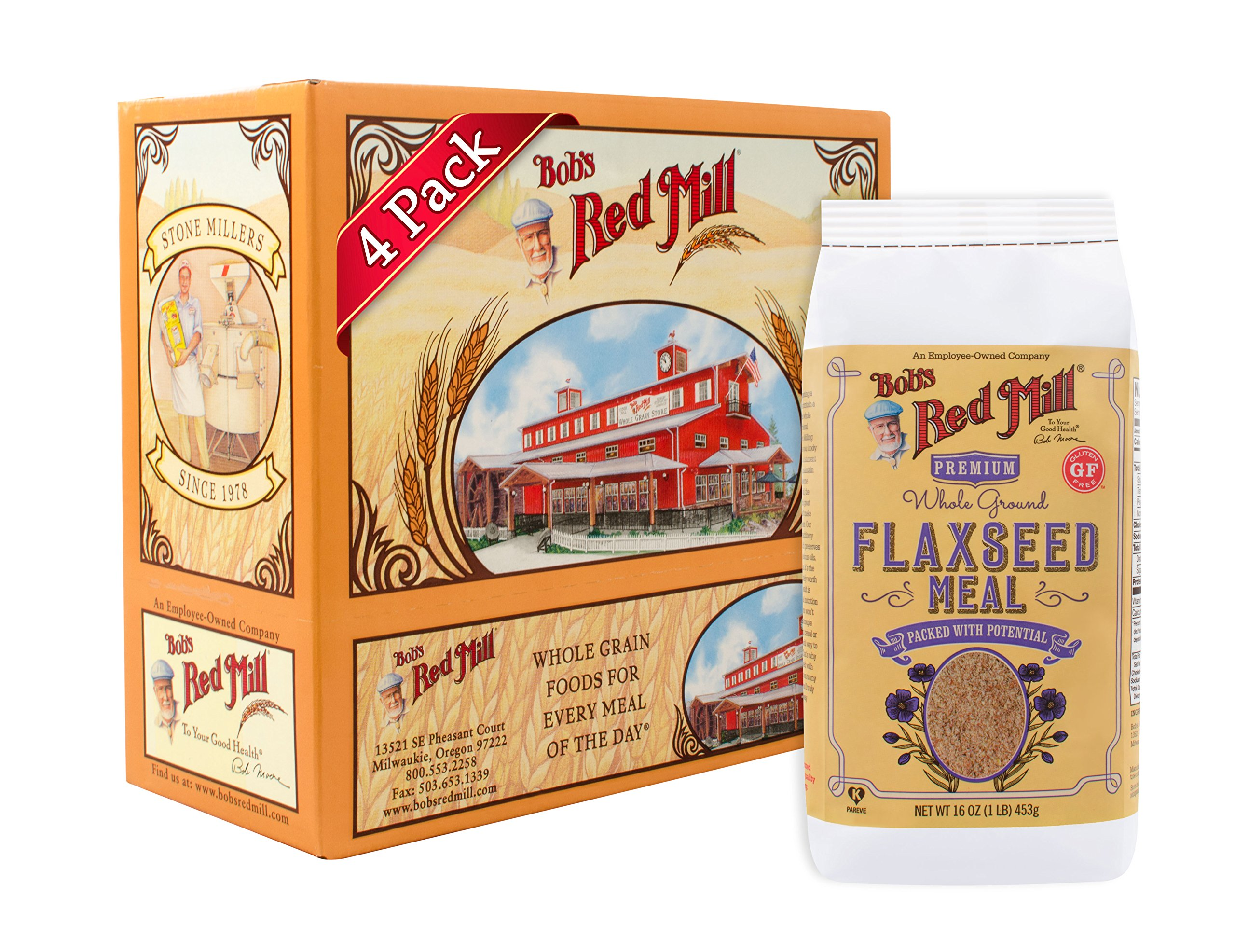 Bob's Red Mill Brown Flaxseed Meal, 16 Ounce (Pack of 4) (Package May Vary)