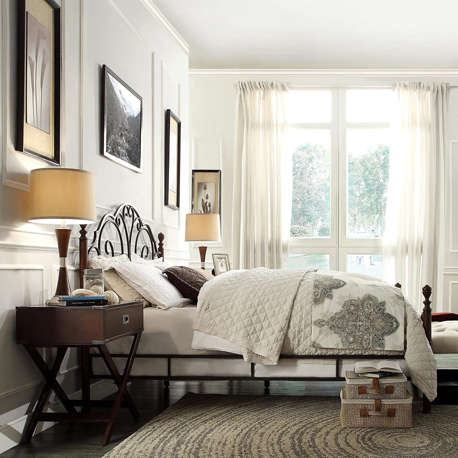 Metro Shop TRIBECCA HOME LeAnn Graceful Scroll Bronze Iron King-sized Bed-LeAnn Bronze Metal King Poster Bed