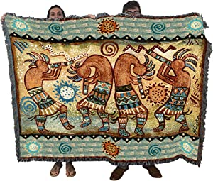 Pure Country Weavers Koko Quartet II by Donna Polivka - Southwest Cave Rock Art Blanket Throw Woven from Cotton - Made in The USA (72x54)
