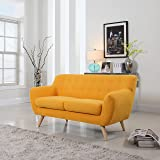 Mid-Century Modern Linen Fabric Sofa, Loveseat in Colors Light Grey, Polo Blue, Sky blue, Yellow and Red (Yellow, 2 Seater)