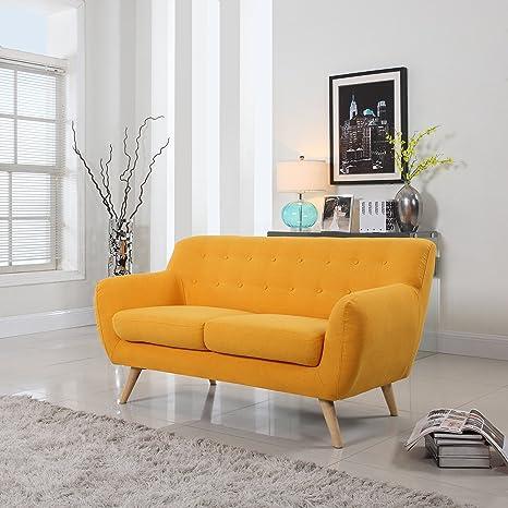 Amazon.com: Sofá biplaza de estilo vintage revestido ...
