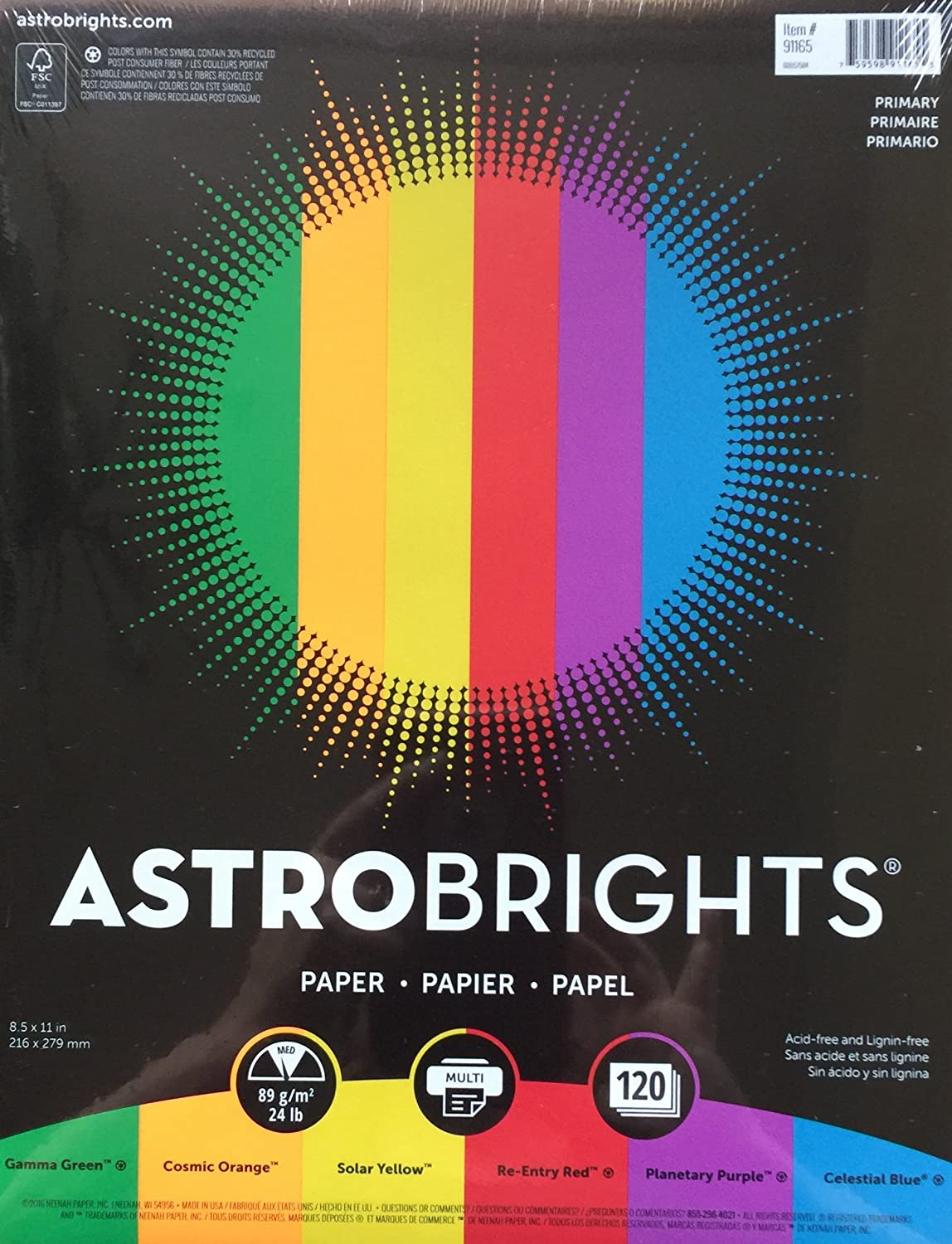 8.5x11 Astrobrights Color Paper Primary 120 Pages