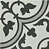 """SomerTile FCD10ARG Burlesque Porcelain Floor and Wall Tile, 9.5"""" x 9.5"""", White/Grey"""