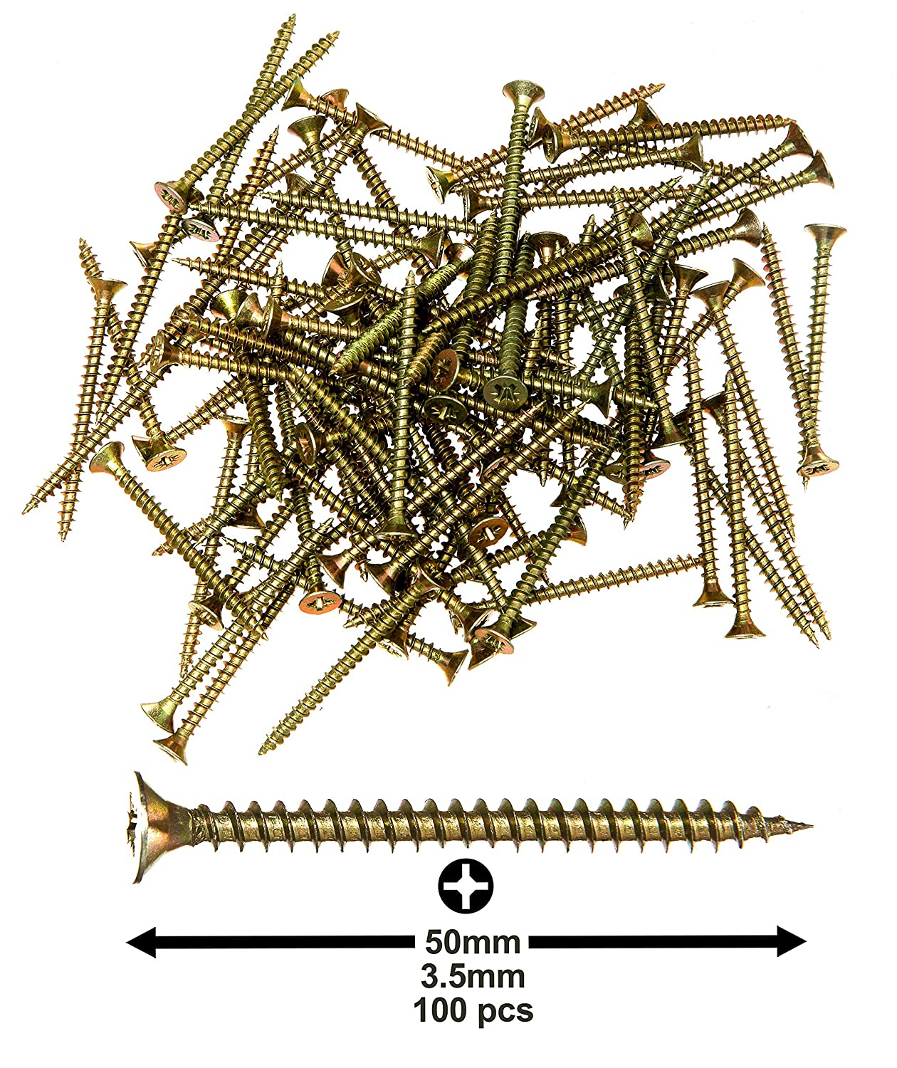 "9//64/""X2/"" Commercial-Grade Heavy Duty Zinc-Coated Steel Countersunk Pozi-Drive Head Screws for All Types of Wood Allkit Wood Screws 100pcs 3.5X50mm"