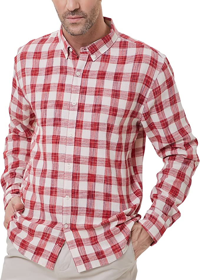 Men's Lightweight Slim Fit Long Sleeve Casual Button-Front Shirt Size M Red