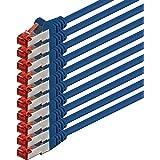 1m - bleu - 10 pièces - CAT6 Câble Ethernet Set - Câble Réseau RJ45 | 10 / 100 / 1000 Mo/s | câble de Patch | LAN Câble |CAT 6 | S-FTP | double blindage | PIMF | 250 MHz | sans halogène | compatible avec CAT 5 / CAT 6a / CAT 7 | pour le switch, routeur, modem, Patchpannel, point d'accès, panneaux de brassage