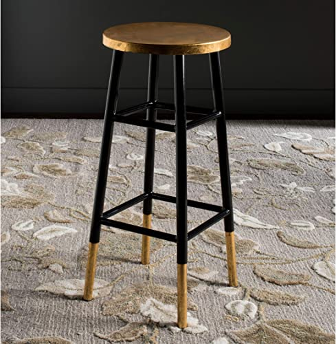 Safavieh Home Collection Emery Black and Dipped Gold Leaf 30-inch Barstool
