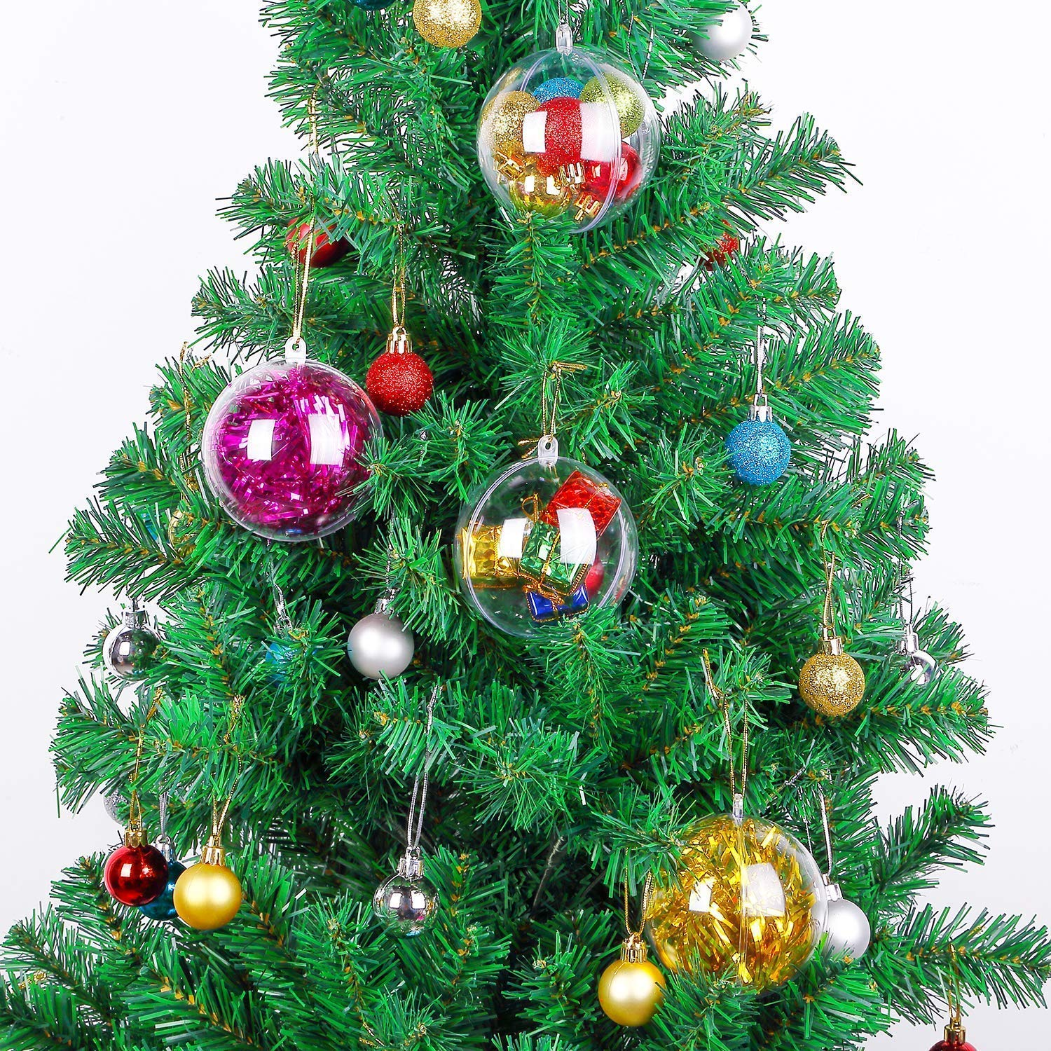 Koogel DIY Plastic Fillable Christmas, Acrylic Fillable Baubles Assorted Size Clear Plastic Ornaments Ball Christmas Tree Decoration 20PCS