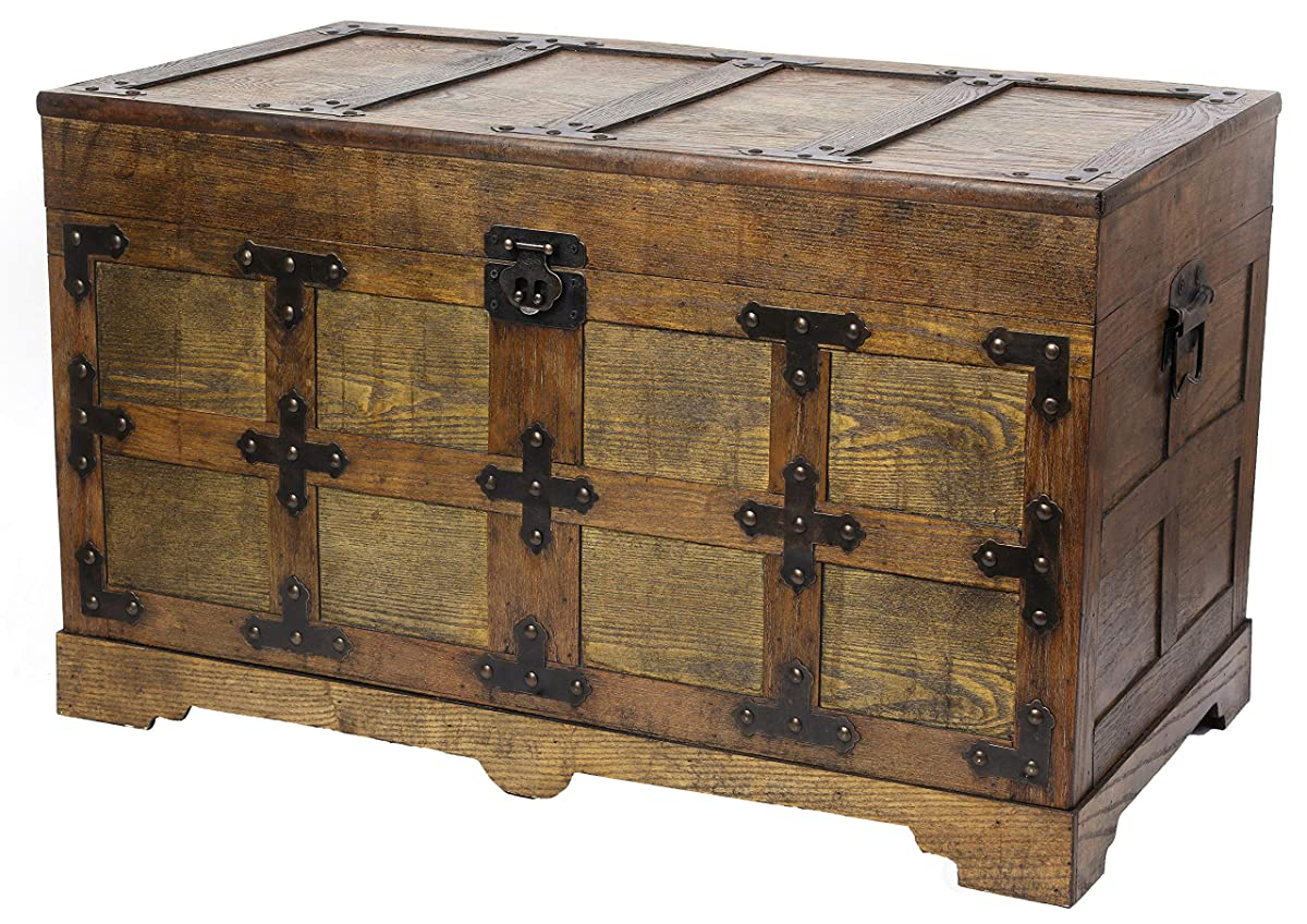 Vintiquewise QI003413.L Rustic Natural Wooden Streamer Trunk Studded Detail (Large), Brown