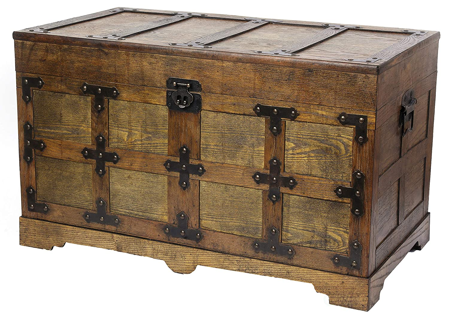 Vintiquewise QI003413.M Rustic Natural Wooden Streamer Trunk with Studded Detail Medium Brown