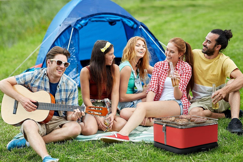 Feuerdesign Teide Grill E Pinza Per Barbecue Lavabile In Lavastoviglie Ventola Rimovibile Borsa Per Trasporto Inclusa Dimensioni 34 X 34 Cm Bianco