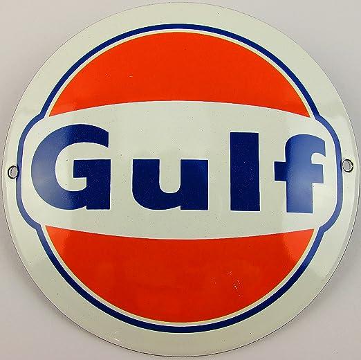 NUEVO esmalte Cartel Gulf Logo 12 cm redondo, Classic ...