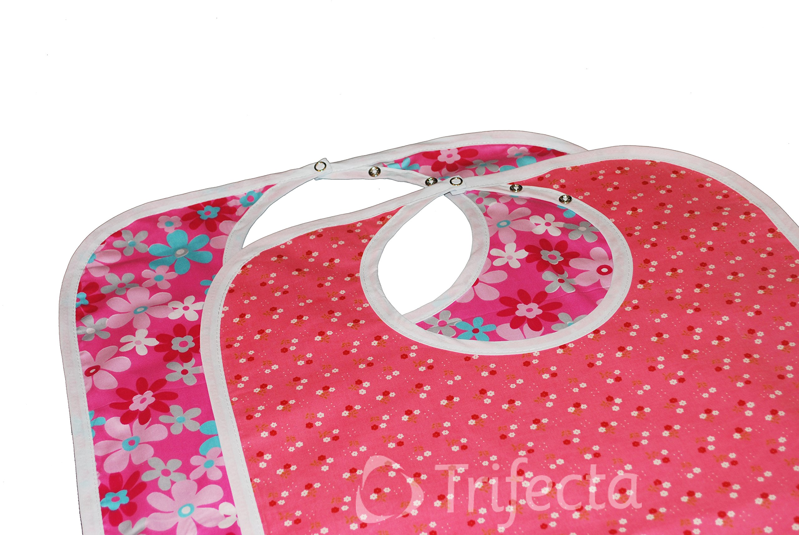Large Extra Long, Reusable Washable Clothing Spill, Mealtime Protector, Waterproof Adult Sized Bib (Pk/2)