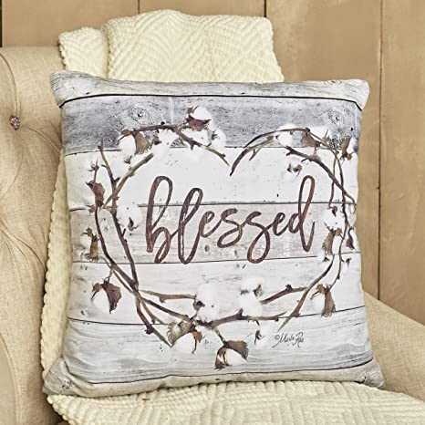The Lakeside Collection Cotton Boll Accent Pillow With Country Blessed Sentiment Message Home Kitchen