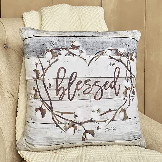 The Lakeside Collection Cotton Boll Accent Pillow With Country Blessed Sentiment Message Home Kitchen Amazon Com