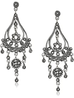 Amazon.com: Sterling Silver and Marcasite Dangle Earrings: Jewelry