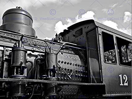 Vintage photography train locomotive black white engine fine art print cc2407