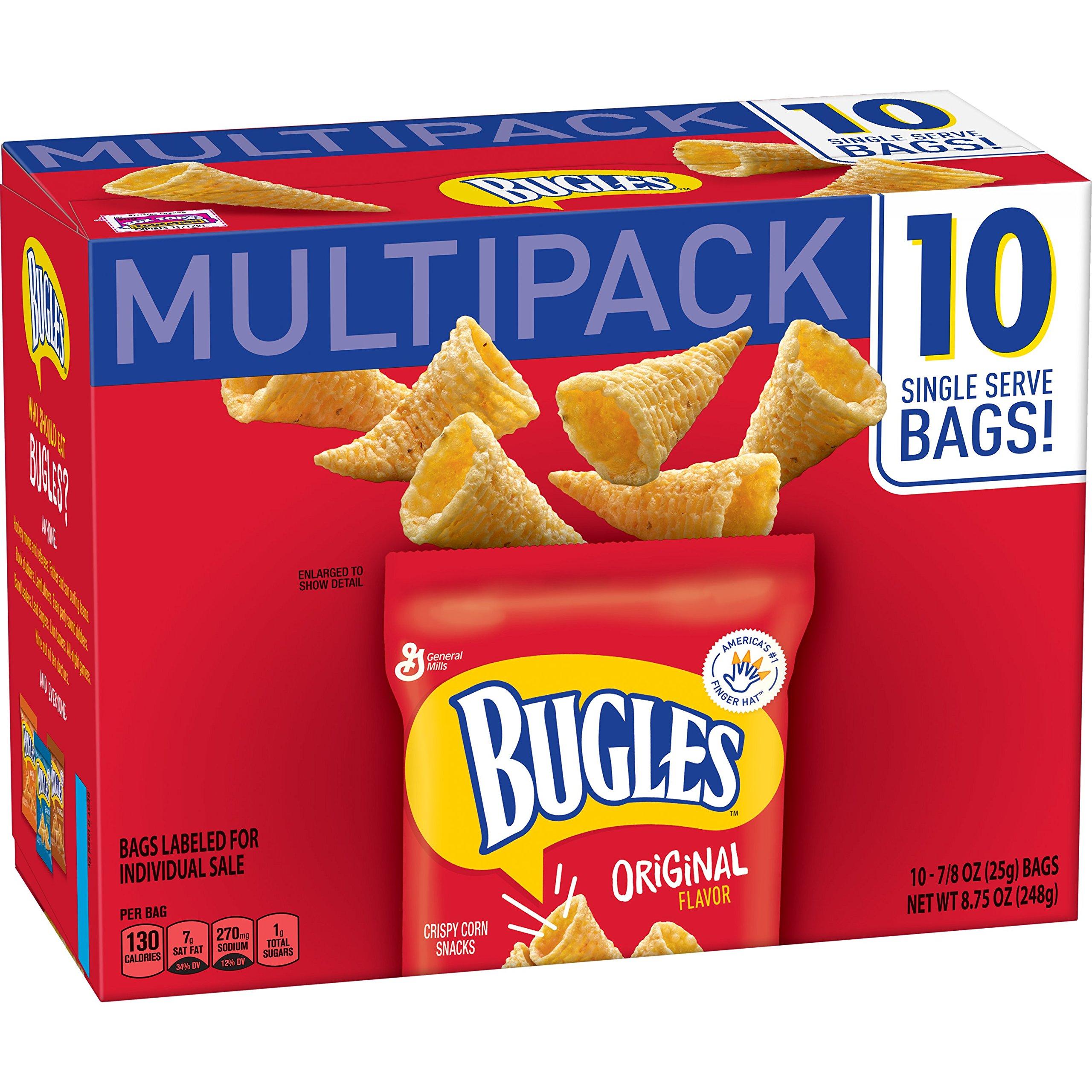 Bugles Original Flavor Crispy Corn Snacks Bags, 10 Count (Pack of 4)