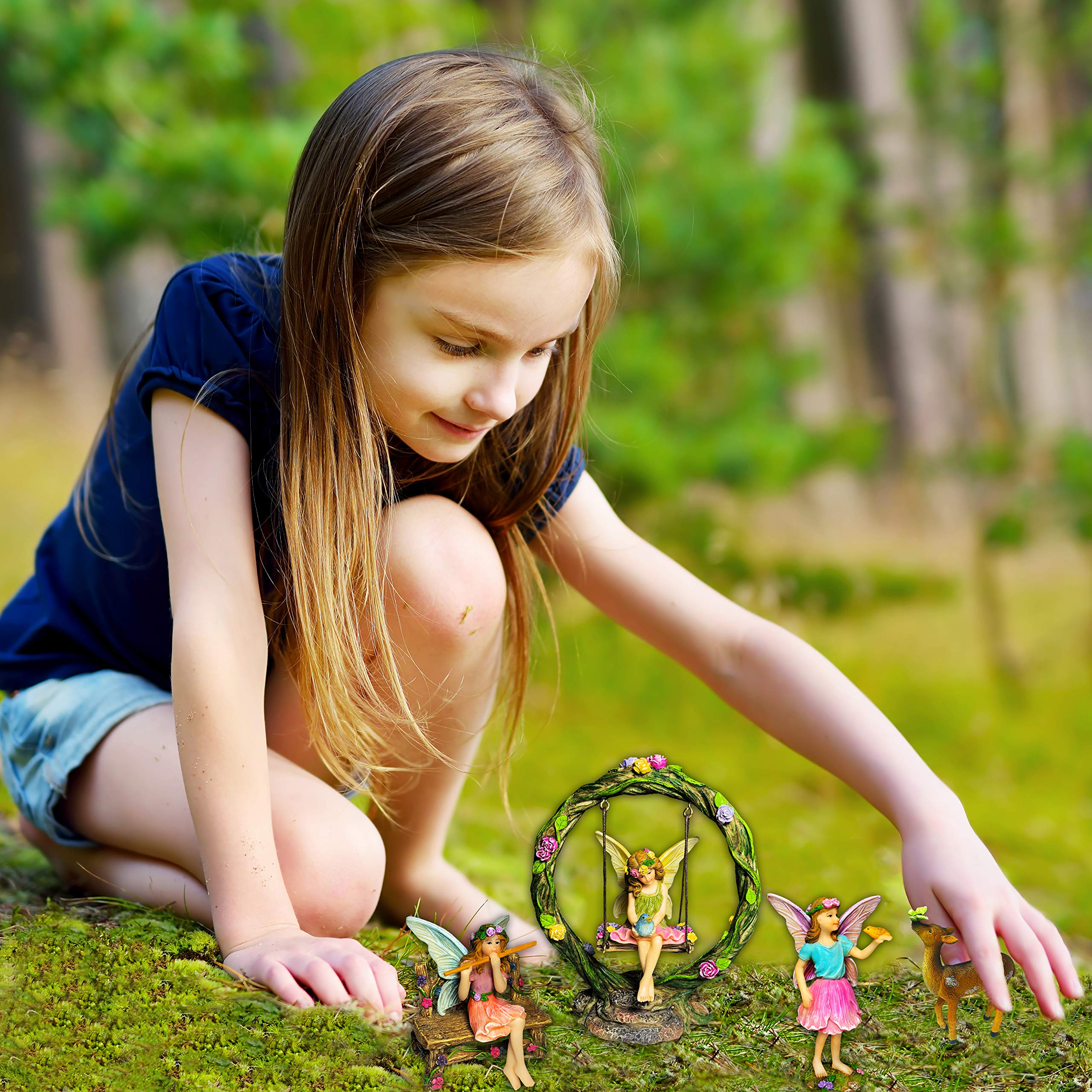Mood Lab Fairy Garden Kit - Miniature Figurines with Accessories Swing Set of 6 pcs - Hand Painted for Outdoor or House Decor by Mood Lab (Image #8)
