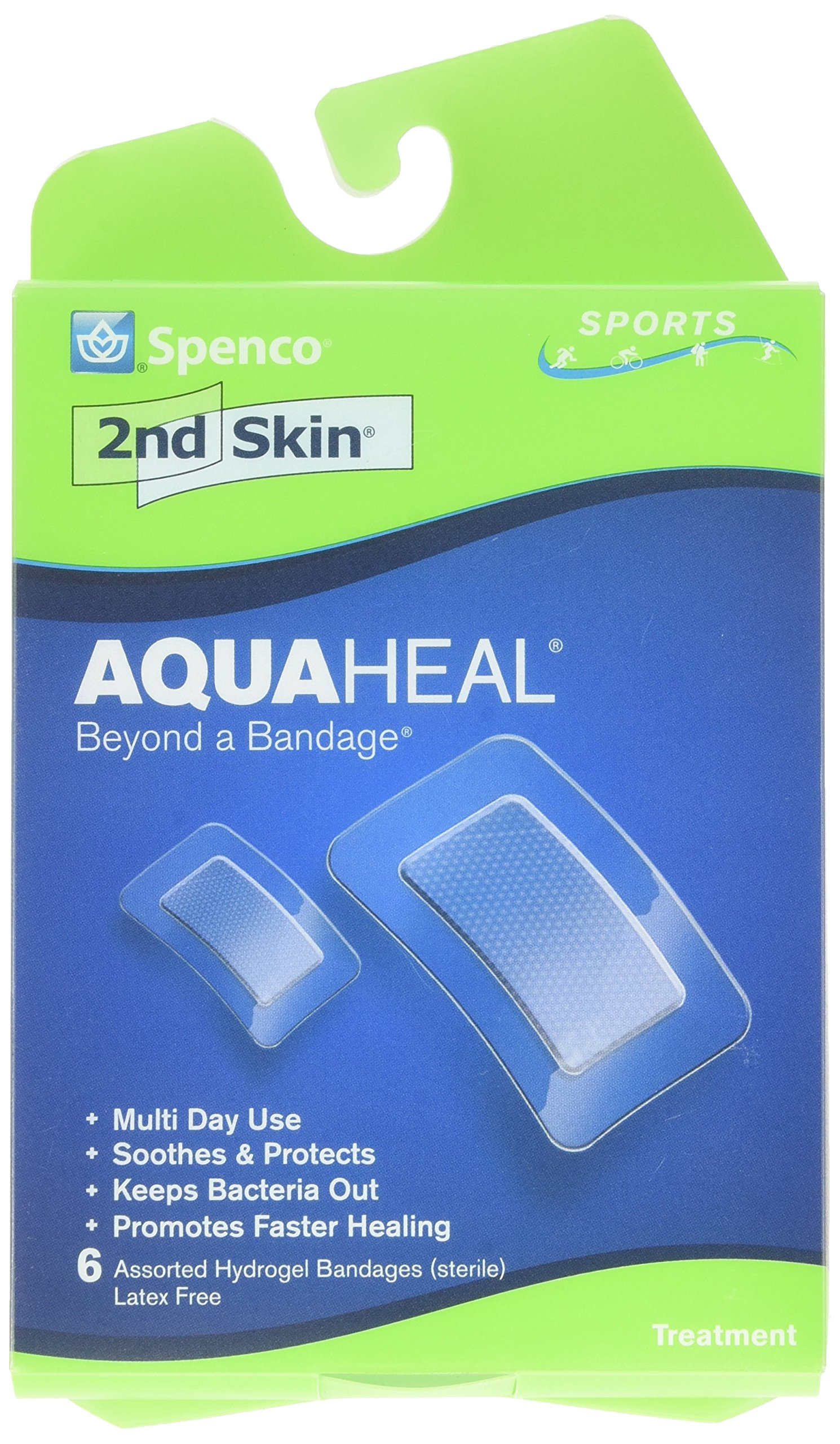 Spenco 2nd Skin Aquaheal Hydrogel Bandages, Sports Mixed Size 6-Count