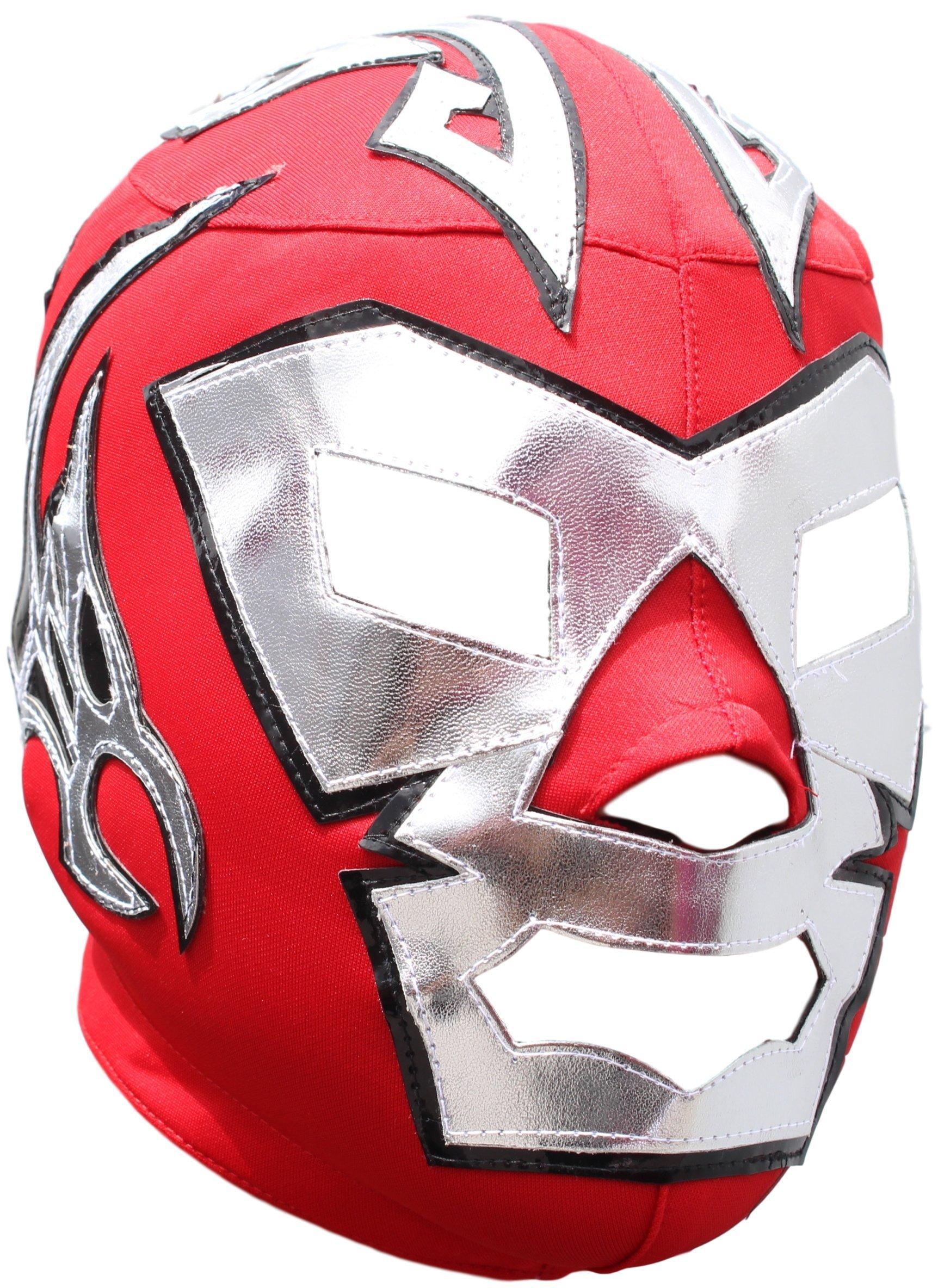Deportes Martinez Dr. Wagner Lycra Lucha Libre Luchador Wrestling Masks Adult Size Red Silver by Deportes Martinez