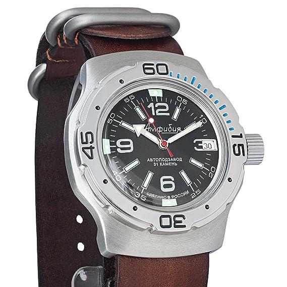 Vostok Anfibios ruso Militar reloj de pulsera correa de piel WR 200 M # 160640: Amazon.es: Relojes